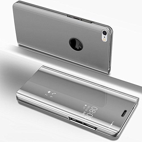 SainCat Coque Galaxy S9 Miroir Portefeuille, Ultra Slim Coque Cuir PU et Plastique Rigide Portefeuille Miroir Anti Choc Coque pour Samsung Galaxy S9-Argent