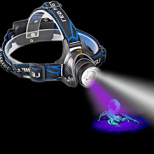 Kopflampe Stirnlampe, ILILIL Tragbare Dual-LEDs Zoom White + UV-Licht-Scheinwerfer-Batterie Blacklight Powered