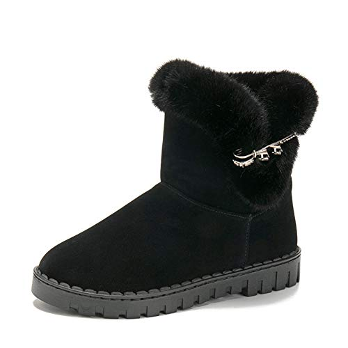 Gesteppte Faux Leder Schuhs (Winter Warme Schuhe Frauen Dicke Plüschfutter Schneeschuhe Outdoor Flachen Boden Anti Skid Faux Pelz Innerhalb Ankle Bootie)