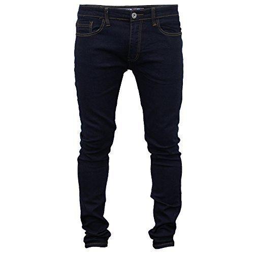 Uomo Jeans Aderenti Soul Star Slim Fit Stretch Denim Pantaloni Stretti In Fondo Nuovo - Indigo, 34W x Corti