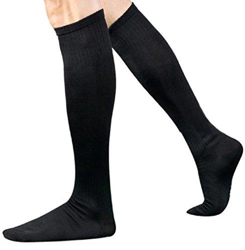 Calzino Familizo Uomo Calzini Uomo di sport calcio calcio calzini lunghi sopra il ginocchio calza altezza Baseball Hockey (Nero) - 3 Fili Box