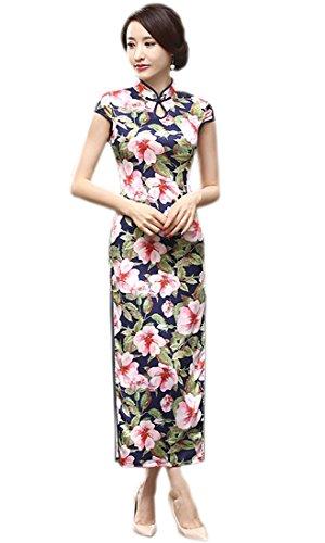 Yue Lian Damen Schlüsselloch Qipao Cheongsam Chinesisch Kostüm Blumen Muster (Cheongsam Kostüm)