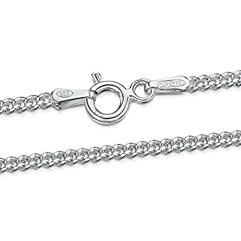 925 Sterling Silver 2 mm Curb Chain Size: 16 18 20 22 24 inch / (Diamante Aperte Croce Ciondolo)