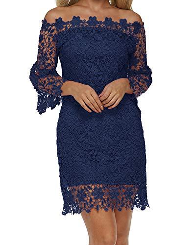 12150f583aba18 Auxo Damen Schulterfreie Langarm Kleider mit Spitze Elegant Blumen Kurz  Abend Etuikleid Marine EU 36/Etikettgröße S