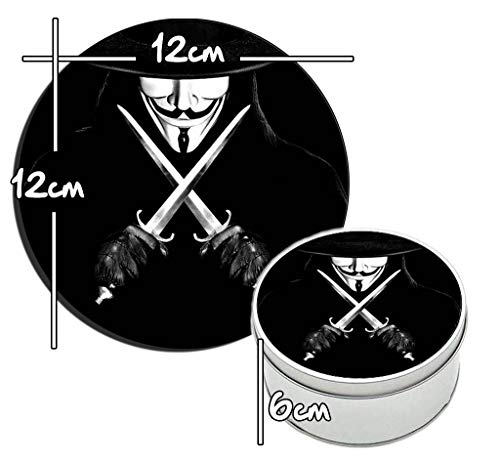 MasTazas V De Vendetta V for Vendetta D Runde Metalldose aus Zinn Round Metal Tin Box