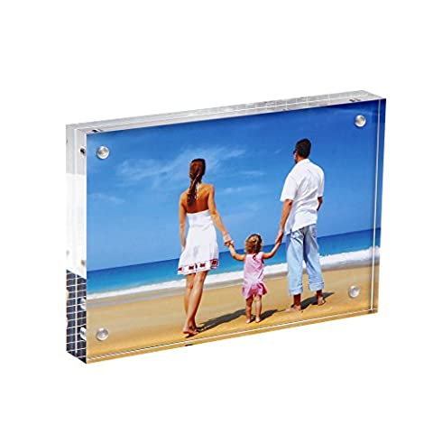 Acrylic Photo Frame 4x6'', Niubee® Plexiglass Magnetic Picture Frame Desktop Display withGift Box Package (20mm Thickness)