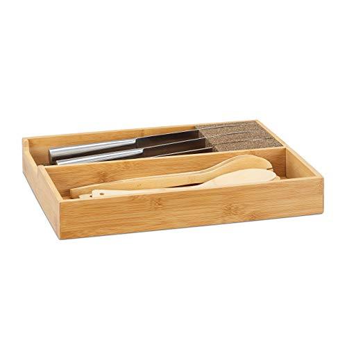 Relaxdays Messerhalter Bambus, Schubladeneinsatz für Messeraufbewahrung, Schubladenorganizer, HBT: 6,5x38x30cm, natur