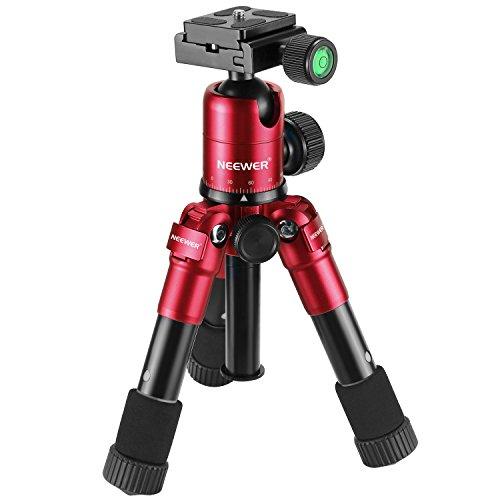 Neewer 50cm tragbare kompakt Tisch Makro Mini Stativ mit 360 Grad Kugelkopf, 1/4 Zoll schnell Schuhplatte, Tasche für DSLR Kamera, Video Camcorder, bis zu 5 Kilogramm Rot