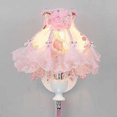 Z&MDH Wandbeleuchtung Pastoral Tuch Nachttischlampe Schlafzimmer Kinderzimmer einstellbare Helligkeit kreative LED, 8 Zoll, rosa (ohne Glühbirne)