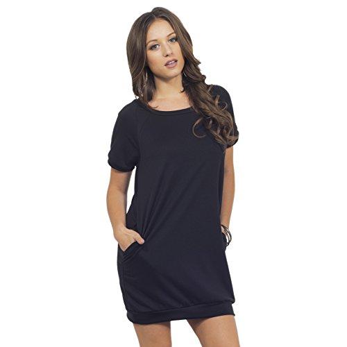T-Shirt Kleid mit Taschen runder Ausschnitt kurze Ärmel leger bequem für Frauen Mitternacht Traum schwarz