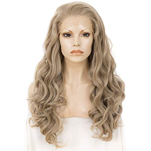 M16/613# Long Body Wavy Charming Lady Gaga Grey Ombre Little Blonde Color Synthetic Lace Front Wig Charming Hair Wigs by IMSTYLE
