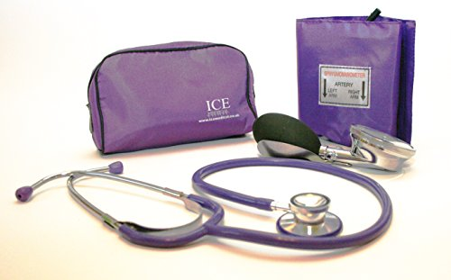 Aneroid Purple Sphygmomanometer With 1 Adult Cuff and Purple Stethoscope - Blood Pressure Monitor Kit