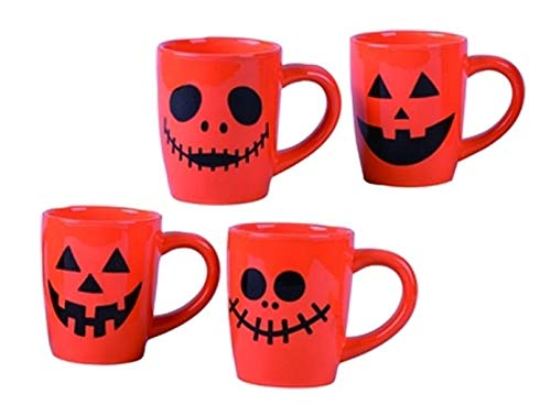 Jack-O-Lanterns Halloween-Becher aus Keramik, 340 ml, 4 Stück