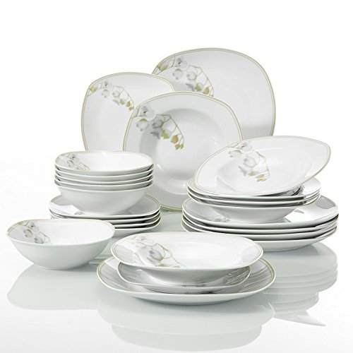 Veweet EMILY 24pcs Service de Table Pocelaine 6pcs Assiettes Plates 24,6cm, 6pcs Assiette Creuse 21,5cm, 6pcs Assiette à Dessert 19cm, 6pcs Bols à Céréales 17cm Vaisselles pour 6 Personnes Fleuri