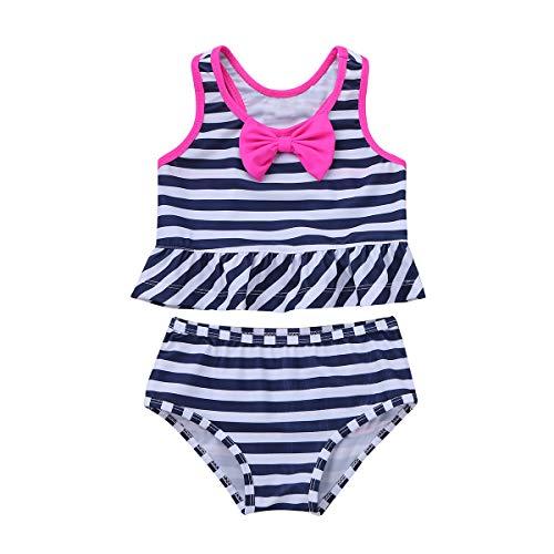 iiniim Baby Mädchen Tankini Bikini Einteiler Badeanzug Polka Dots Schwimmanzug Bademode (104-110/4-5 Jahre, Marine Blau Streifen) -