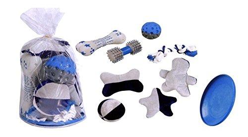 Kit-9-giochi-per-cane-Sacchetto-completo-di-9-giochi-palla-osso-cotonosso-frisbee-peluche-ecc