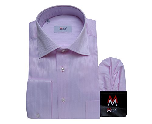 Herrenhemd mit Strukturstreifen Klassisch MUGA Rosa