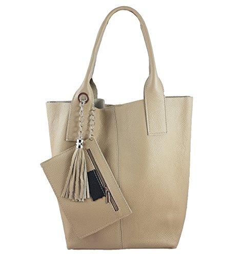 Damen Echtleder Shopper mit Schmucktasche in vielen Farben Schultertasche Henkeltasche Handtasche Metallic look (Beige)