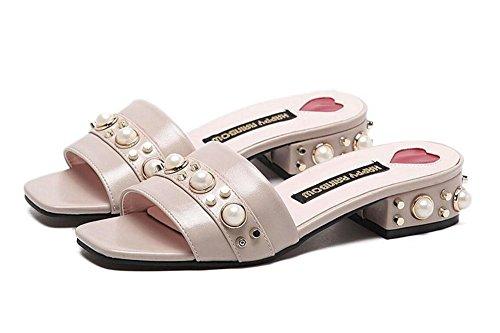 GLTER Women Pu Sandales solides Open Toe Pearl Rough Word Dragged Half Drag Femme Sandales Mule Chintillons Low Heel Shoes Chaussures de plage Apricot Khaki Black apricot
