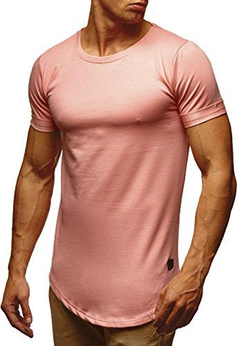LEIF NELSON Herren Basic T-Shirt Hoodie Longsleeve oversize Rundhals Ausschnitt Kurzarm Shirt Sweatshirt LN6368; Größe L, Lachsrosa