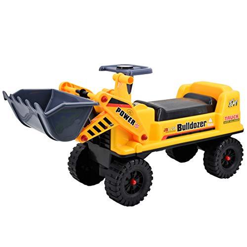 deAO Veicolo Cavalcabile per Bambini Trattori Escavatore Senza Pedali Pala dell'Escavatore Funzione Manuale, Corno e Deposito Aggiuntivo
