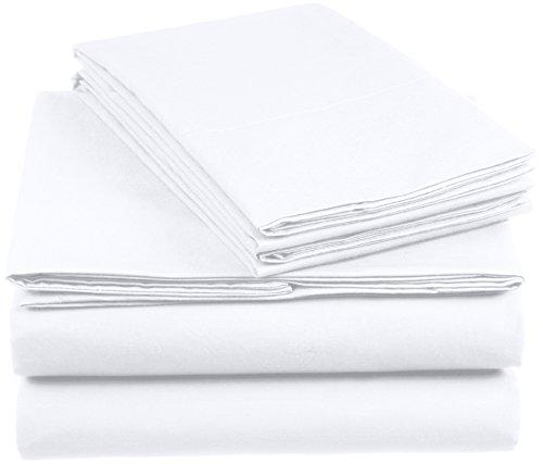 AmazonBasics Everyday - Juego de fundas de edredón nórdico y de almohada (100% algodón) Blanco - 200 x 200 cm y 2 fundas 65 x 65 cm