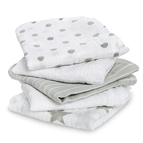 aden by aden + anais langes musy, 100% mousseline de coton, 60cm x 60cm, pack de 5, dusty