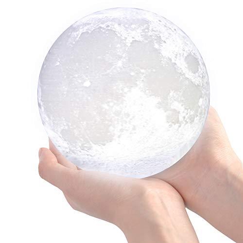 3D Mondlampe, LED Mond Nachtlicht mit Ständer, Touch Control und USB aufladen, Wiederaufladbares...