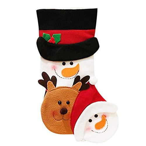 carol -1 Nikolausstiefel Weihnachtlicher Stickerei - Weihnachtsstrumpf zum Befüllen und Aufhängen - Nikolaus Strumpf Schneemann Rentier Geschenktasche Candy Bag Weihnachtsdeko, Nikolaussocken