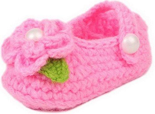 EOZY Unisexe Bébé Chaussures Tricot Main-Tissage pour Des Filles Garçons de 0 à 18Mois 11CM Chaud en Hiver Rose Fleur