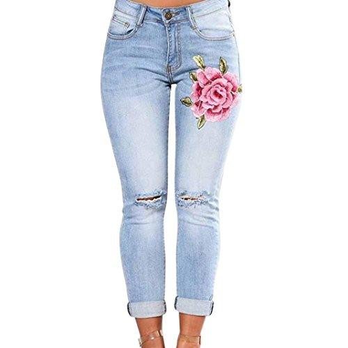 Damen Hosen Sommer LHWY Frauen Slim Fit Lang Hosen Ecke Gestickte Elastische Sport Jeanshosen Skinny mit Taschen Bekleidung Loch Gerade (2XL, Blau)