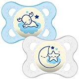 MAM Night Glow in The Dark Soother Suitable 0 Months with Sterilisable Travel Case - Pack of 2, Blue/White (Designs May Vary)