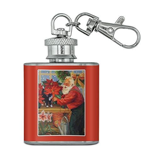 Vacances de Noël Père Noël dans la Serre en acier inoxydable 28,3 gram Mini Bouteille Porte-clés