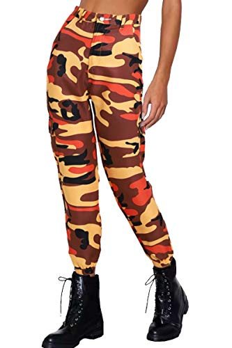 Lantch Damen Hosen Camouflage Casual Jogginghose Sporthose Military Freizeithose Streetstyle(or,s) Orange Camouflage