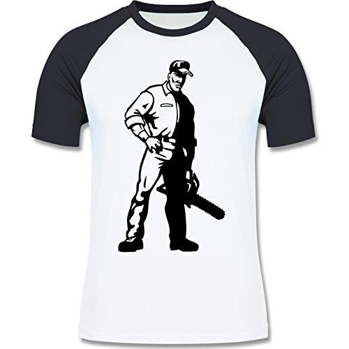 Handwerk - Holzfäller - Herren Baseball Shirt Weiß/Navy Blau