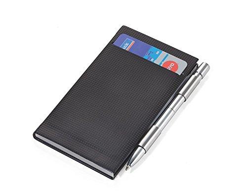TROIKA NOTIZBLOCK und KARTENETUI REMINDER - CNP01/BK - mit Block und Stift - Kartenfach - Aluminium / hochwertiges Lederimitat SQUARE TEX® - schwarz - das Original von TROIKA