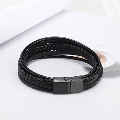 herren armband edelstahl echtleder armband murtoo schwarz braun geflochten mit magnet. Black Bedroom Furniture Sets. Home Design Ideas