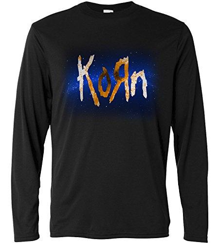 T-shirt a manica lunga Uomo - Korn - space logo - Long Sleeve 100% cotone LaMAGLIERIA, XL, Nero