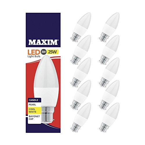 Maxim Bougie à LED Blanc froid Culot à baïonnette (BC) ampoules 3 W (équivalent 25 W) [Classe énergétique A +] Lot de 10, B22, 3 W