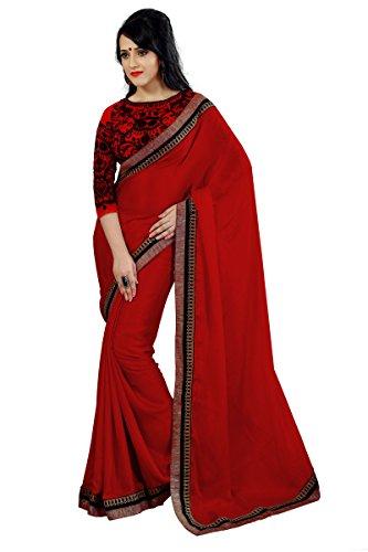 Glory Sarees Satin Saree (Sophie37Red_Red)