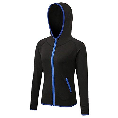 Yijee donna felpa con cappuccio manica lunga hoodie fitness jogging t-shirts asciugatura veloce nero2 xxl