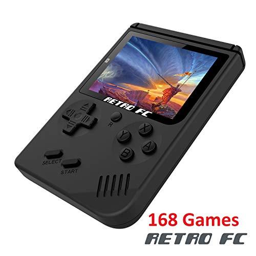 Anbernic Consoles de Jeux Portables, Console de Jeux Retro FC Game Console 3 Pouces 168 Classique Jeux - Noir