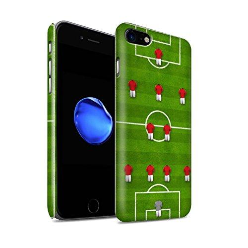 STUFF4 Matte Snap-On Hülle / Case für Apple iPhone 8 / 4-4-2/Weiß Muster / Fußball Bildung Kollektion 4-2-3-1/Rot