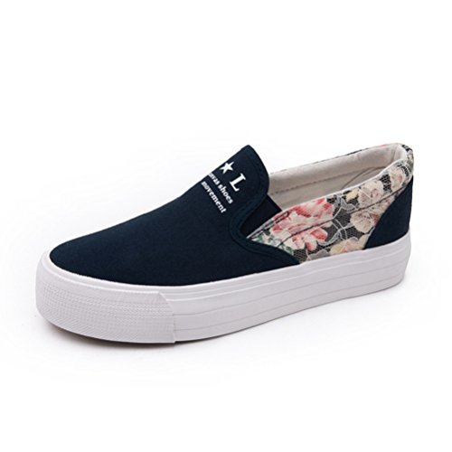 Damen Einfache Slip On Dicke Sohle Plateau Aufzug Blumenpattern Lässige Turnschuhe Sneakers Blau