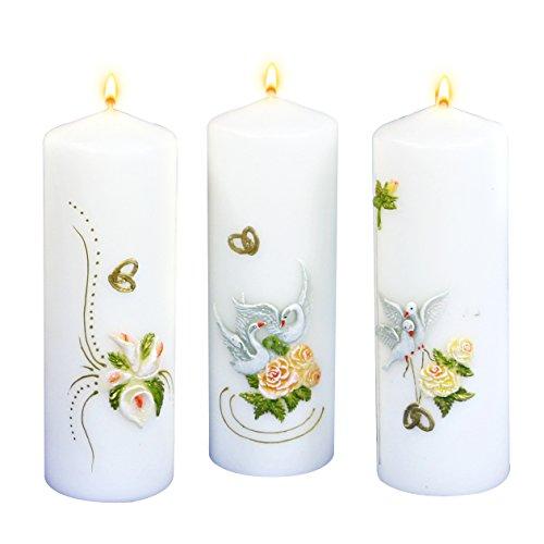 3 velones blancos pintados a mano, diseño de bodas/bautizo.