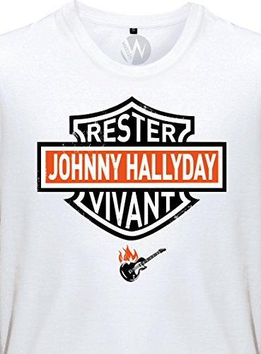 KSS KSS KSS Homme T-Shirt Message Rester Vivant Biker Johnny Hallyday