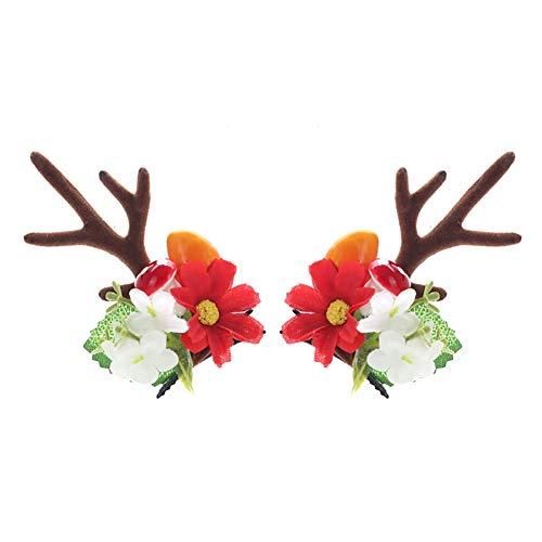 Mädchen Blumen Antlers Hairpin Holiday Studio Foto Christmas Elk Haarbänder Styling-Accessoires Kinder (rote Blumen)