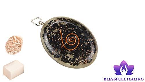 Blessfull Healing Reiki Spiritual Faith Healing Gemstone Energy Oval Black Tourmaline Orgonite Collar Colgante Con Rose Desert Selenita/Cubo Selenita