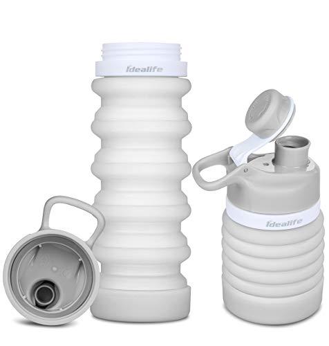 Idealife Faltbare Wasserflasche - Sport-Wasserflaschen, BPA-freie für unterwegs, Lebensmitteltaugliche, Tragbare, Lecksichere Reise-Wasserflasche aus Silikon, 18 oz