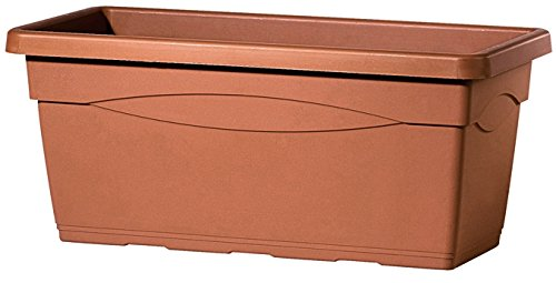 Deroma 9b510sz-fioriera rettangolare in plastica, 80x 37x 33.5cm, colore: marrone